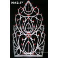 Corona de rhinestone de tiara de piedra roja & clara