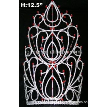 red & clear stone tiara rhinestone crown