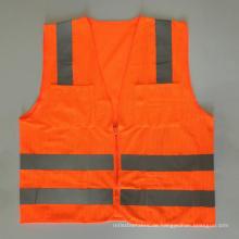 Amerikanische hohe Sichtbarkeit ANSI / ISEA107 orange gelber Reißverschluss reflektierende Sicherheitsweste mit Taschen