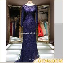 2016 vestido de noiva de dama de honra de manga comprida azul marinho