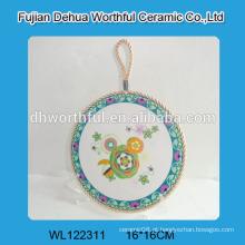 Decorativas cozinha cerâmica trivets com corda branca para pendurar