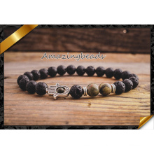 Wholesale Gem Stone Men Jewelry, Stretch Yoga Hamsa Hand Bracelet (CB047)