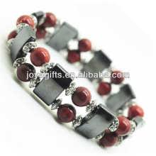 Bracelet de l'amplitude de l'hématite magnétique avec des perles rondes alliage et 8MM Red Stone