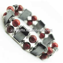 Magnetic Hematite Space Bracelet with alloy and 8MM Red Stone Round Beads