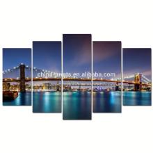 Arte moderna da parede da lona da ponte de Brooklyn / cartaz da noite de New York City / paisagem da lona da arquitectura da cidade