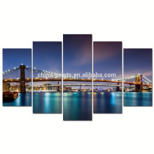 Современный Бруклинский мост Холст Wall Art / Нью-Йорк Ночной постер / Cityscape Canvas Изображение