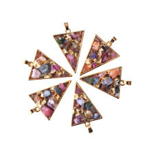 Crystal Point Pendant Triangle Gold & Colourful Chip Necklace