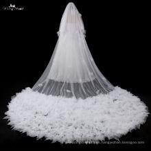 TA041 2017Nuevos productos Ruffle 5 metros de longitud del piso accesorios de boda Velo