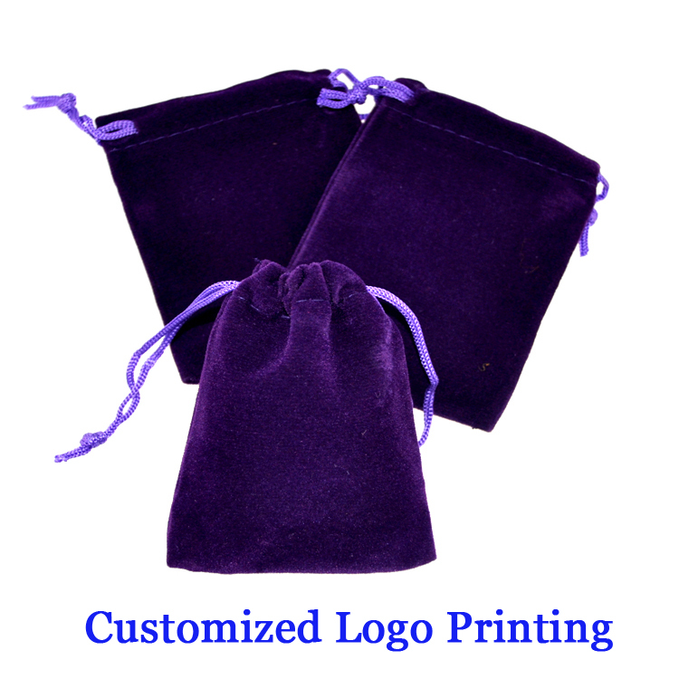Customized Velvet wine bag with drawstring