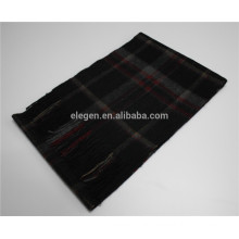 2015 New Design Men Yarn Dyed Checked Cashmere Scarf With Fringe