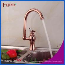 Fyeer Rose Gold 360 Swivel Küchenarmatur für Doppelwaschbecken