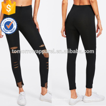 Black Fishnet Insert Ripped Leggings OEM/ODM Manufacture Wholesale Fashion Women Apparel (TA7033L)