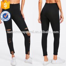 Inserção arrastão preto rasgado Leggings OEM / ODM fabricação atacado moda feminina vestuário (TA7033L)