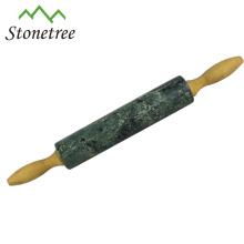 Rolo de pedra de pedra natural preto novo quente da venda com a base de madeira