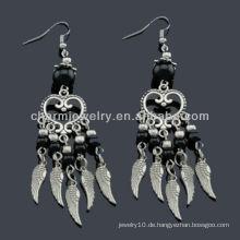 Hand polnische antike silberne Art und Weise Ohrringe Vners schwarze Steine SE-011B