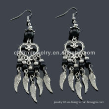 Pendientes antiguos de la manera de la plata de la mano Pendientes Vners Piedras negras SE-011B