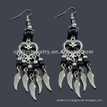 Hand Polish antique silver fashion Earrings Vners Black stones SE-011B