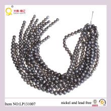 9-10mm forma de patata gris Perder cuerdas de perlas