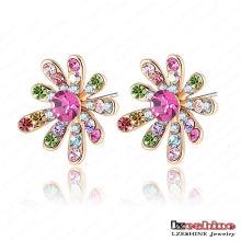 18k Gold Plated Czech Crystal Flower Girls Earrings (ER0005-C)