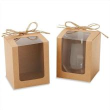 Clear window kraft brown cake box
