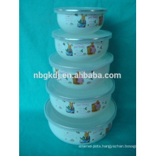 enamel mixing bowl with PE LIDS and ss304 rim