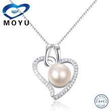 Wholesale online jewelry Fashionable Unique jewelry silver jewelry pearl pendant heart shape pearl pendant necklace