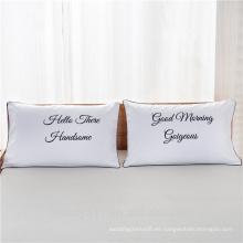 Venta de personalidad de impresión digital par de almohadas blanco rey reina corona amor junto ropa de cama B01