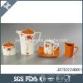 Оранжевый оптовый пользовательский набор чая красивый деколь дизайн фарфора чайный горшок