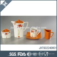 Naranja al por mayor a medida de té set hermosa calcomanía de diseño porcelana tetera
