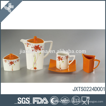 Orange wholesale custom tea set beautiful decal design porcelain tea pot