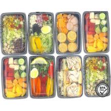 Contenedores de almacenamiento de comida de plástico Contenedores de comida de 1 compartimiento, caja de almuerzo Bento