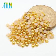 Nouvel arrivé 10mm plat dos perles Cabochons en vrac en vrac Faux perles, Z26-Lt.Topaz