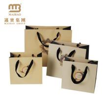 Mais novo design eco-friendly pequeno saco de papel branco com alça