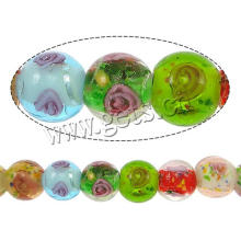 2015 Gets.com lampwork beads, Handmade Lampwork Beads, Round, gold sand and silver foil & inner flower
