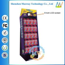 Kundenspezifisches bedrucktes Papiersüßwarengegenausstellungsgestell mit 8 Zoll LCD-Bildschirm