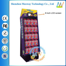 free standing cardboard display with 8 inch LCD screen