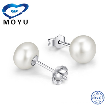 Stock 925 Sterling Silver Natural Pearl Earring for Women,Made of 925 Silver With Rhodium Plating,12pieces /lot