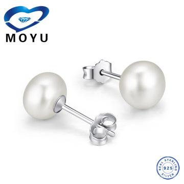 Серьга стерлингового серебра 925 стерлингового серебра естественная для женщин, сделанная из серебра 925 с плакировкой родия, 12pieces / lot