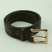 OEM for Automatic Adjustable Buckle Belt Men's Fashion Design Stitched Sawtooth Pattern Leather Belt export to Western Sahara Wholesale