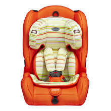Child car seat with blue red covers