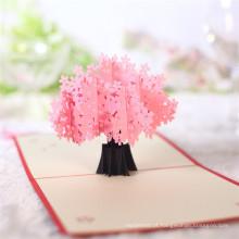 FQ marca DIY saudação 3d pop up novo cartão de flor de design