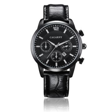6832multi-функция наручные часы с Толкателями СС Пряжка кожаный ремень