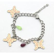 Bracelet en acier inoxydable avec charmes de papillons