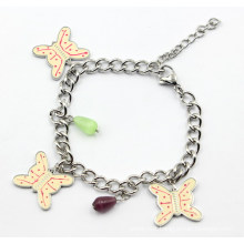 Stainless Steel Bracelet with Butterfly Charms