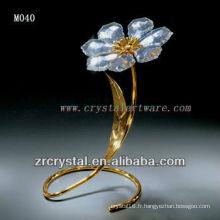 Fleur en cristal plaqué or K9