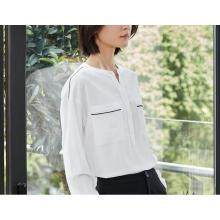 Camisa de mujer de cuello redondo puro blanco puro de verano