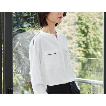 Summer Clean Pure White Round-Neck Women′s Shirt