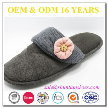 Fashion suede with knit lining flower upper bedroom slippers lady