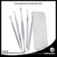 Mitesser- und Pickel-Entferner-Kit - Anweisungen enthalten 6 Comedone Extractor Tools