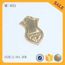 MC631 Personalizado para el accesorio de bolso de metal de oro etiqueta de nombre